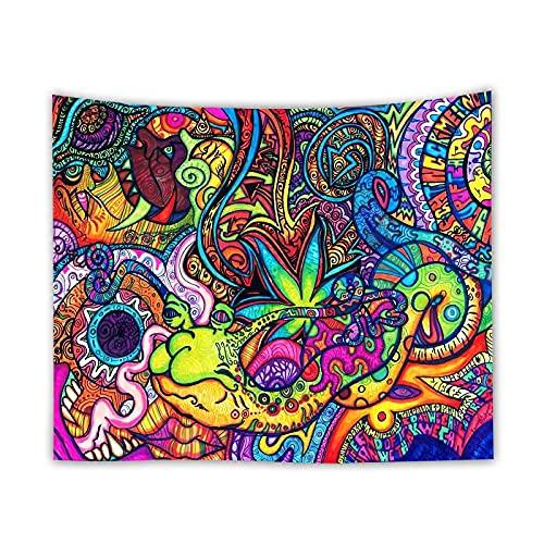 KHKJ Tapiz de Pared de Hoja de Arce psicodélico pequeño, tapices de Mandala Bohemio, Tela de Pared, Alfombra, Techo, decoración de la habitación, decoración del hogar A2 95x73cm
