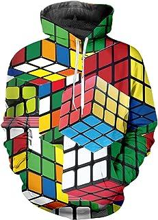 Summer Men's Hoodie Rubik's Cube 3D Print Colorful Checkered Hoodie Top