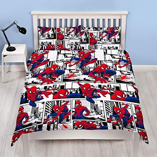 Spiderman Ultimate Metropolis Doppel-Bettbezug | wendbares zweiseitiges Design | Kinder-Bettwäsche-Set mit passendem Kissenbezug (Doppelbett)