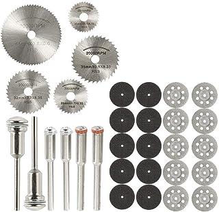Windyjp ミニルーター用 切断砥石 HSS丸鋸刃 31点セット スリッターブレード ドレメル回転工具用 高速度鋼切削ディスク 切断砥石(カットオフホイール) シャフト(マンドレル) 金属・木材・プラスチック