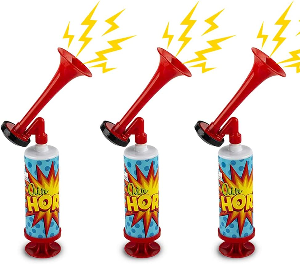 ArtCreativity Mini Air Horn Pump, Set of 3, 10 Inch Noisemakers for Sporting Events, Parties, Celebrations, Fun Birthday Party Favors and Goodie Bag Fillers for Kids and Adults: Toys & Games