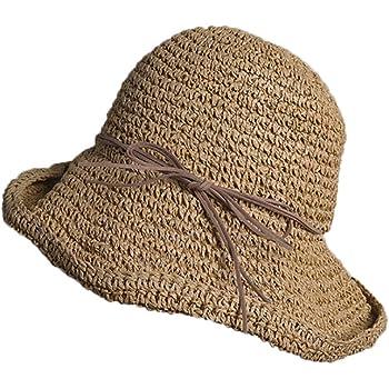 Lazzon Donna Cappello di Paglia Cappellino da Sole Pieghevole Floppy Grande Bordo Protezione Solare AllAperto Protezione UV Estivo Cappelli della Spiaggia