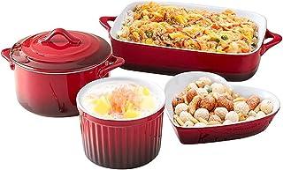 Baking Dish Red Ceramic Bakeware Set, 4-Piece Ceramic Baking Dish Lasagna Pans Casserole Dish Casserole Dish for Cooking, ...