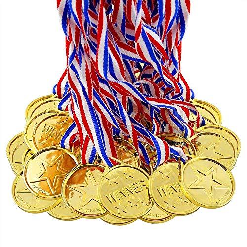 NvWang Medallas Niños,Medallas Deportivas Plástico Medallas Doradas 24 Piezas Winner Medallas de Oro Premios para niños Fiesta,Olimpiadas Competencia, Recompensa, Juego Juguetes Premios Premios