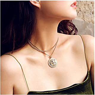 Olbye Layered Gold Necklace Choker Layering Coin Medallion Necklace for Women and Girls Everyday Necklace Jewelry