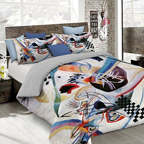 Italian Bed Linen Parure Copripiumino con Stampa Digitale a Copertura Totale Sul Sacco e Sulle Federe 2 Posti 100% Cotone, Multicolore (SD62), 250x200x1 cm