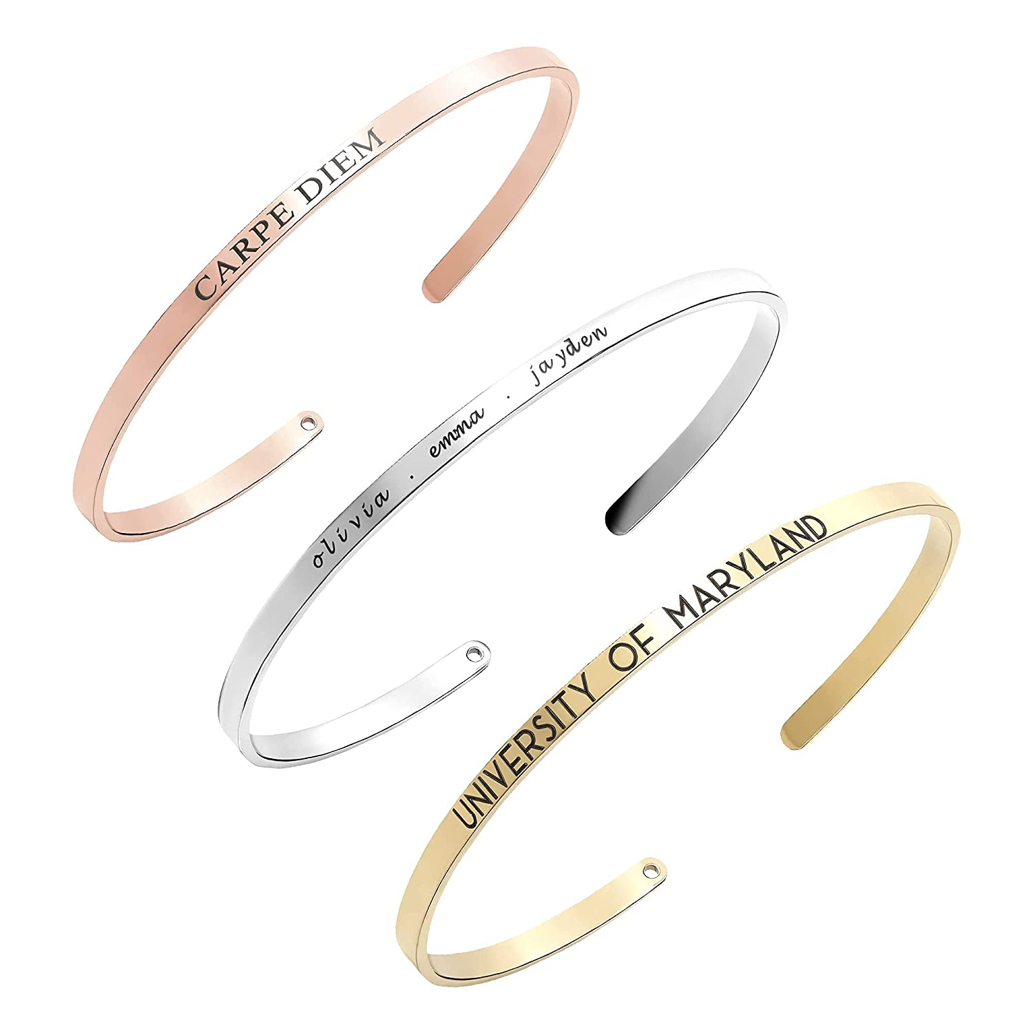 Graduation Gift Super popular specialty store for Her 2021 Bracelet Personalized F Custom Max 58% OFF Cuff