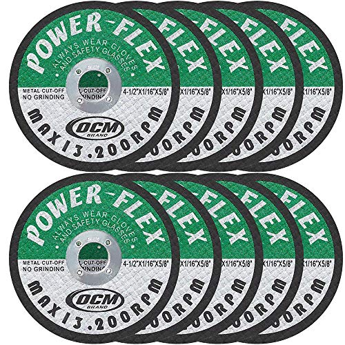 4 1/2 Inch x 1/16 Inch x 5/8 Inch Premium Cut Off Wheels - 10 PACK -, For Cutting all Ferrous Metals and Stainless Steel