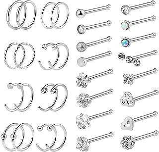 32Pcs Silver 20G Stainless Steel Nose Ring Hoop Nose Stud Piercing for Women Girls Hoop Cartilage Tragus Ear Piercing Set