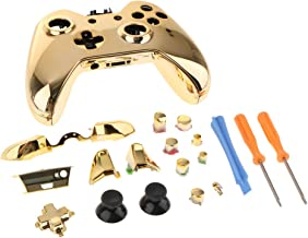 FITYLE Replacement Full Housing Kit for Microsoft Xbox One Controller Shell Case + Screwdriver + Pry Bar Gold