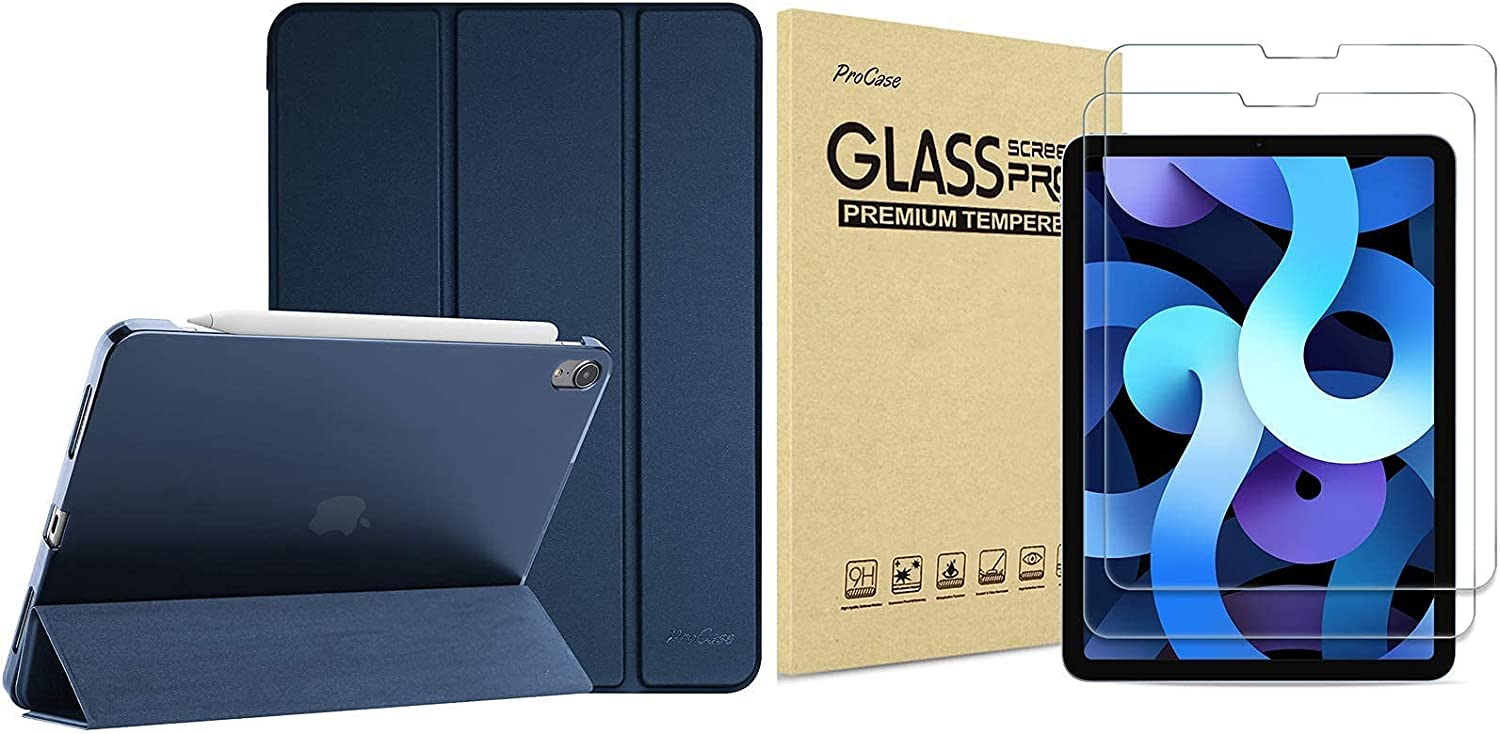 ProCase iPad Air 4 Case 10.9 Inch 2020 iPad Air 4th Generation Case Bundle with 【2 Pack】 iPad Air 4 Screen Protector 10.9 2020