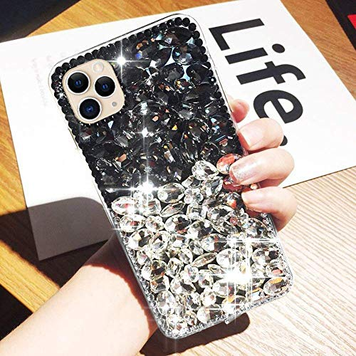 kompatibel mit iPhone 11 Pro Hülle,Glänzend Glitzer Bling Strass Handyhülle TPU Silikon Hülle Schutzhülle 3D Handschlaufe Diamant Stoßfest Bumper Case Tasche für iPhone 11 Pro,Schwarz Silber