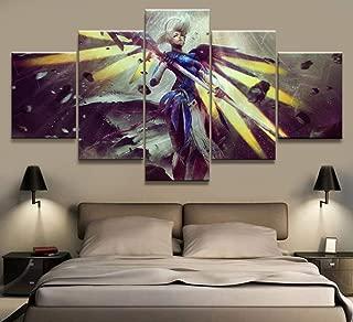 YI KUI Cuadros HD imágenes serigrafía Misericordia Juego Poster 5 Panel de la decoración Pintura del Arte de la Pared de la Sala de Estar, A, 30 × 40 × 2 + 30 x 60 x 2 + 30 × 80 × 1