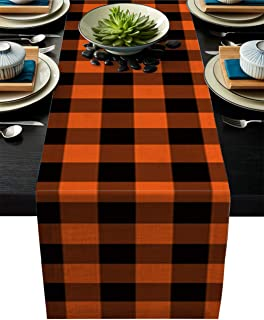 Cotten Line Table Runner Buffalo Check Plaid Decorative Tablecloth for Halloween, Non-Slip Runners Dinner Parties and Scar...