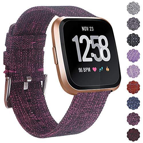 KIMILARArmbänder Kompatibel mit Fitbit Versa/Versa 2/Versa Lite Armband Stoff, Schnellspanner Nylon Ersatzband Armbänder mit Edelstahl Handgelenk Verschluss - Violett
