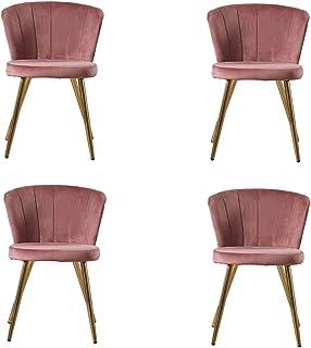 Zoyo Juego de 4 sillas de comedor de terciopelo rosa tapizadas de cocina patas de metal para el hogar restaurantes (rosa, 4)