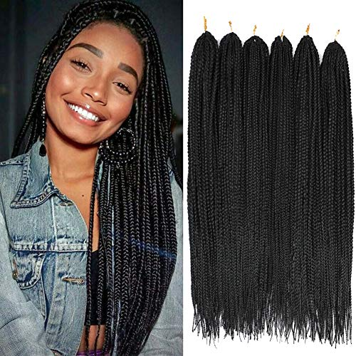 6 Packs 30 Inch crochet box braids Medium box braids crochet hair extensions Long 3X box Braided Crochet Hair kanekalon synthetic braiding Hair 24 Strands/Pack (30inch, 1B)