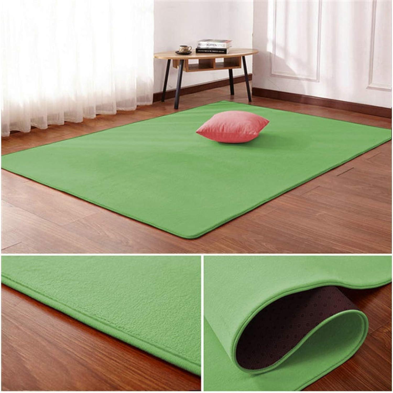 Living Room Carpet Floor mat Bedroom Bed Coral Fleece Blanket Study Door Rug Coral Fleece CushionGreen
