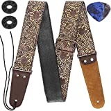 Guitar Strap, Stamped Leather Guitar Strap PU Leather Western Vintage 60's Retro Guitar Strap with Genuine Leather Ends for Electric Bass Guitar, with Tie,Include 2 Picks,Bronze