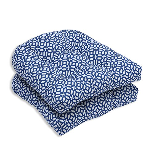 Pillow Perfect Outdoor/Indoor Tufted Seat Cushions (Round Back), 19' x 19', in The Frame Pebble Sapphire, 2 Pack