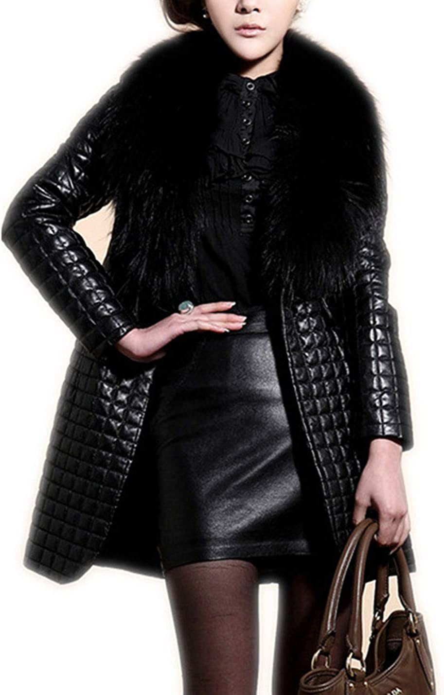 PAODIKUAI Women's Fox Fur Faux Leather Jackets Diamond Quilted Lightweight Jacket
