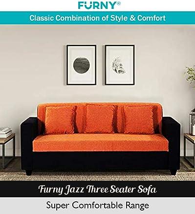 Furny Jazz Three Seater Sofa (Orange- Black)