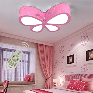 Chic&Modern LED Ceiling Light Dimmable Flush Mount, Kids Room Girls and Boys Bedroom Deco Fixture, Butterfly Chandelier with Remote, 40w/19.68 Inch Lighting for Living Dining Room Kitchen Lamp (Pink)