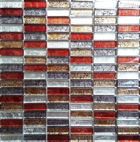 Glas Mosaik Fliesen Matte Ziegelstein Format in Hong Kong Metalic Herbst Farben Gold, Rot, Silbern (MT0006) (30cm x 30cm Matte)