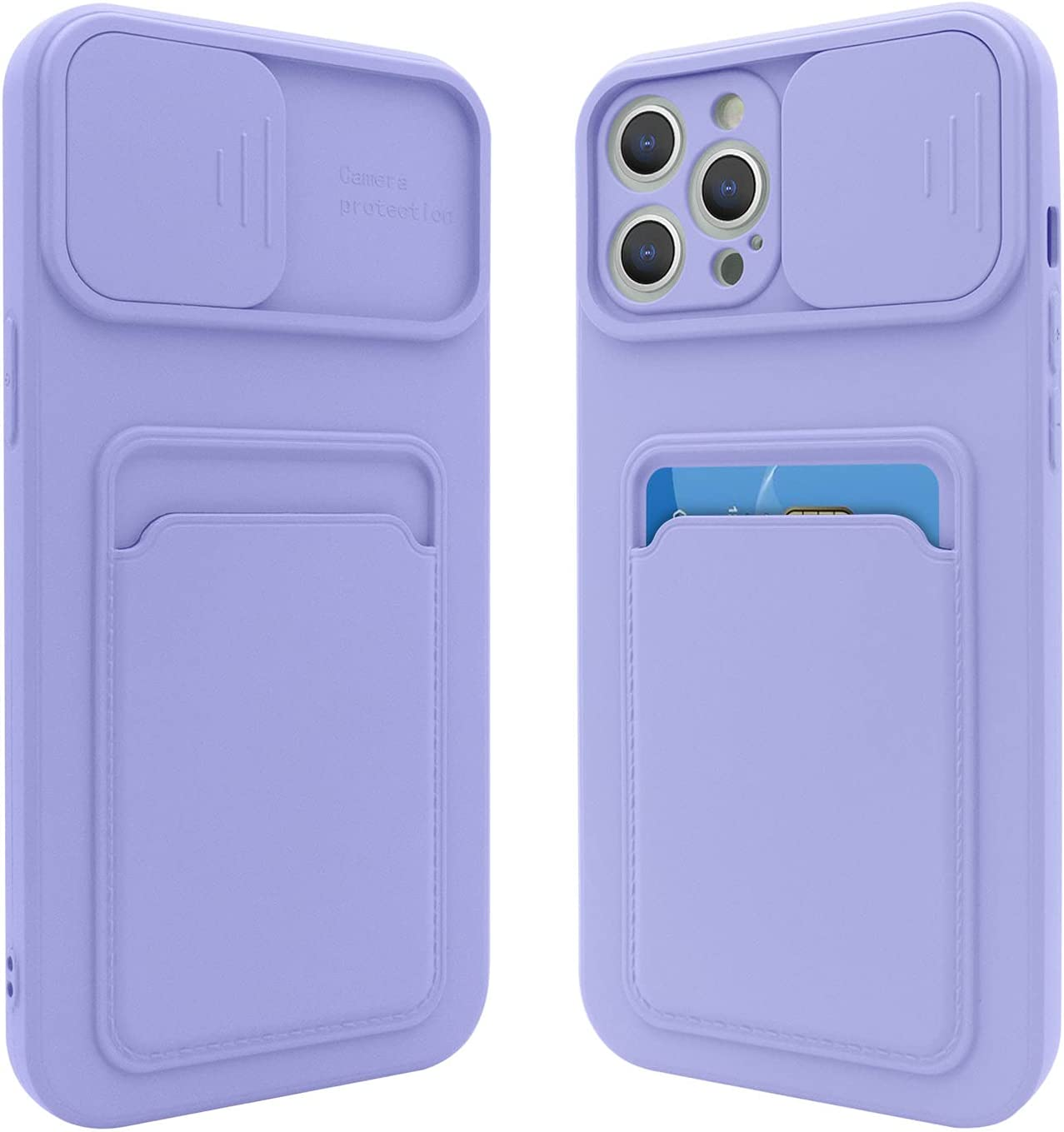 Fsoole iPhone 12 Pro Max Silicone Card Case with Camera Lens Protector, Credit Card Holder Sleeve Shockproof Cover for 6.7 Inch iPhone 12 Pro Max (Purple)