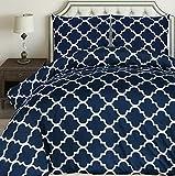 Utopia Bedding Housse de Couette 200x200 cm avec 2 Taies d'oreiller 80x80 cm - Bleu Marine Parure de...
