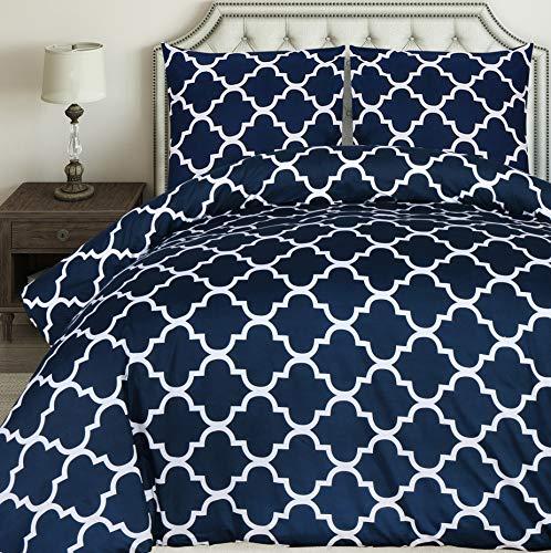 Utopia Bedding Bettwäsche-Set - Mikrofaser Bettbezug und Kopfkissenbezüge - Bettbezüge Set mit Reißverschluss - Gittermuster (Marineblau, 200x200cm + 2 x Kissenbezuge 80x80cm)