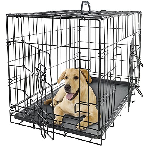 OxGord 36' Dog Crate 2 Door w/Divide w/Tray Fold Metal Pet Cage Kennel...