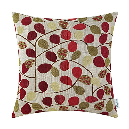 CaliTime Cushion Cover Throw Pillow Case Shell for Couch Sofa Home Decoration Luxury Chenille Cute Leaves Both Sides 18 X 18 Inches Ecru Red