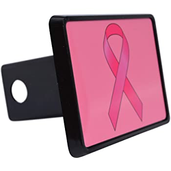 Graphics and More Personalized Custom 1 Line Breast Cancer Pink Ribbon Heart Oval Tow Trailer Hitch Cover Plug Insert