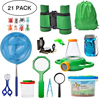 Outdoor Exploration Kit- 21pcs Nature Explorer Kids Adventurer Kit for Children- Binoculars, Compass, Magnifying Glass, Insect Viewer, Butterfly Net, Bug Toys, Outside Educational Toys Hiking Camping