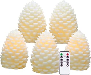 Eldnacele Christmas Pine Cone Candles Battery Operated Real Wax Decorative Candles Flickering with Timer and Remote Control for Christmas Home Party Decor, Ivory Set of 5