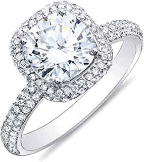 KING OF JEWELRY Natural, Not Enhanced, Cushion Cut Halo 3 Row Micro-Pave Halo Diamond Engagement Ring, G-Color, VS2 Clarity - GIA Certified