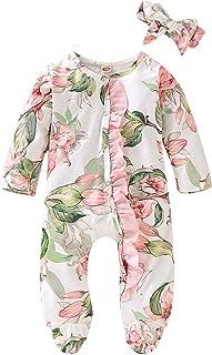 0-18M Baby Girl Flower Print Footie Romper Long Sleeve Autumn Bodysuit with Headband