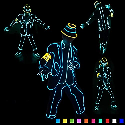 DHTW&R EL Kaltlicht Glühende Kleidung Jazz Fluoreszierender Tanz Performance-kostüm Nachtshow Beleuchtet Strichm chen Mann Kostüm Batteriebetrieben Maskerade Party Kostüm