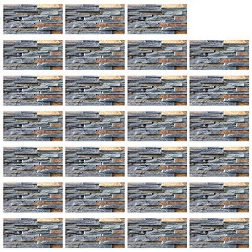 Njuyd - Lote de 27 pegatinas de imitación 3D para azulejos de piedra áspera para cocina, piso, decoración del baño, 20 x 10 cm