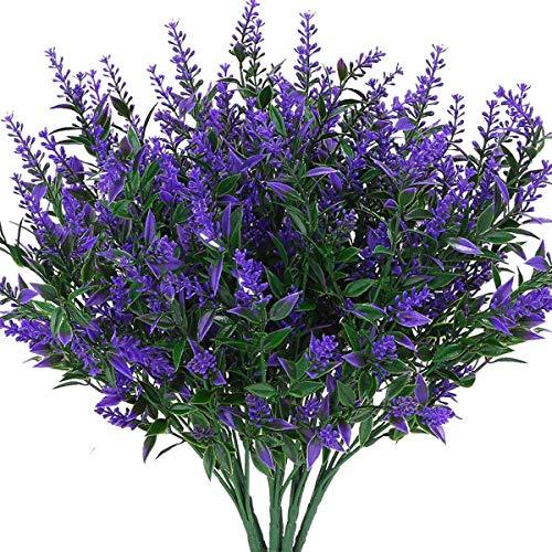 Artificial Lavender Outdoor Plants UV Resistant Fake Flowers Purple Faux Lavender Plastic Greenery Stems Decor for Front Porch Planters Decoration