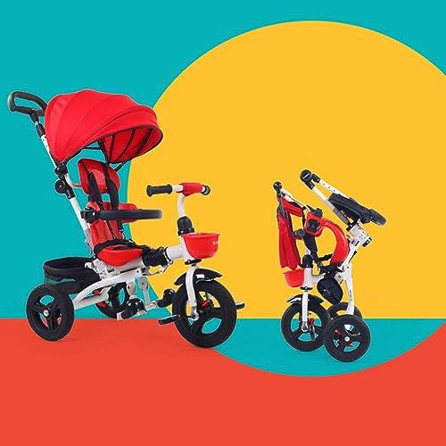 QXMEI 4 In 1 Kinder Dreirad Ab 1 Bis 6 Jahre 5-Punkt-Sicherheitsgurte Parking Brakes On The Two Rear Kann Gefaltet Werden Kinderdreir r Verstellbar Schubstange Kinderwagen Belastbarkeit Bis 30 Kg