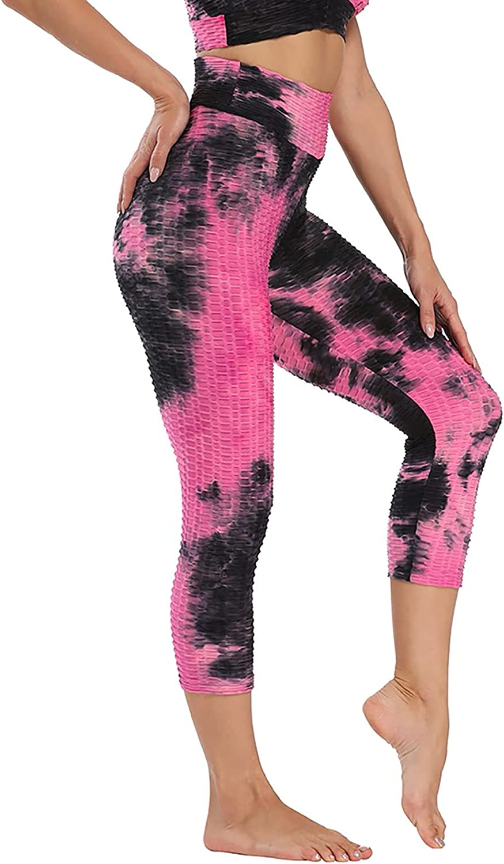 Auwer Women's High Waist Leggings Tie Dye Yoga Pants Workout Tummy Control Running Stretch Yoga Leggings for Sports