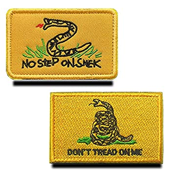 Zcketo 2 Pieces Tactical Don t Tread Patches Tactical No Step Snek Embroidered Military Moral Patch for Army Backpacks Hat Vest Dog Harness Yellow Snek