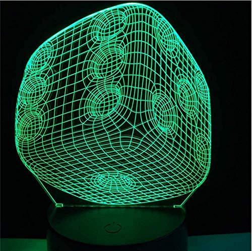 Night Light Magic Decor Art Gamble Dice 3D USB Led Lamp Room Gadget Props Optical Source Acrylic Night Light Lava Gift