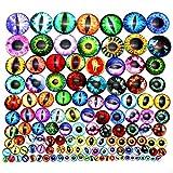 TOAOB 296 Piezas de 6 a 30 mm Tamaño Mixto Cabujón Cristal Redondo Multicolor Dragón Ojo de Gato Ojos de Seguridad para Hacer Muñecas o Hacer Joyas
