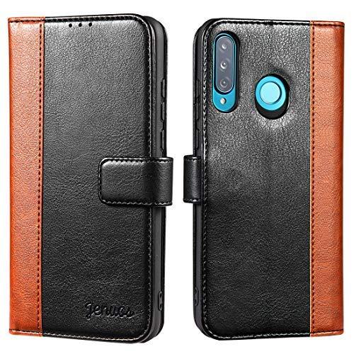 Jenuos Cover per Huawei P30 Lite, Custodia in Pelle con Chiusura Magnetica per Huawei P30 Lite 2019 – Nero (P30L-JG-BK)