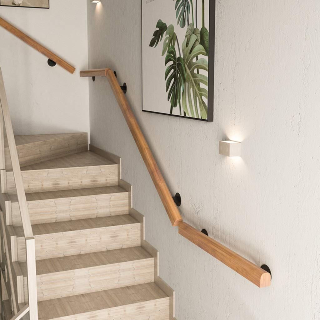 Barandilla de madera montada en la pared de las escaleras de la barandilla con los soportes negros del hierro, barra de gancho agarrador industrial de DIY para el cuarto de baño (