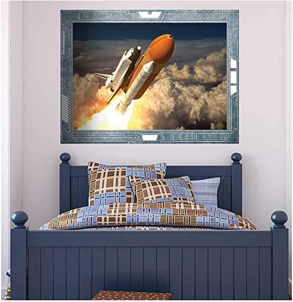Wall26 Science Fiction ViewPort Decal The Space Shuttle Launching On A Mission Wall Mural Removable Sticker Home Decor 36x48 Inches