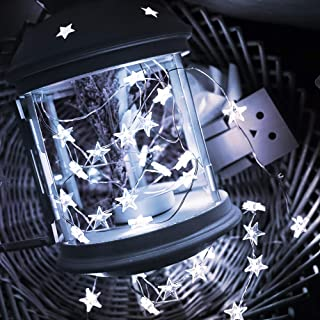 Onforu 6 Pack 16.4ft Star Fairy Lights, 8 Modes Remote Control Outdoor 50 LED String Lights with Timer, Battery Operated Twinkle Firefly Starry Lights for DIY Wedding Party Christmas Decor, Cool White